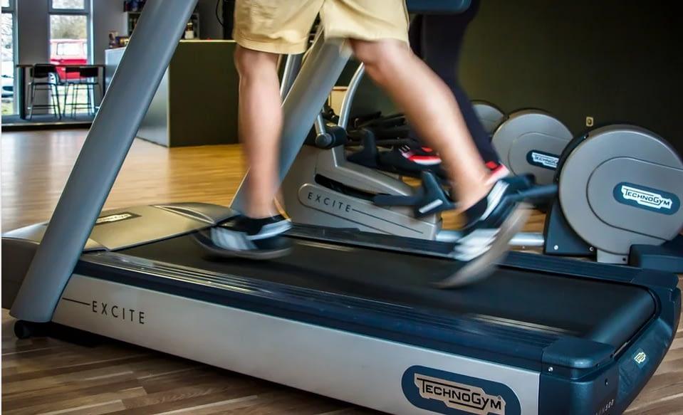 a person jogging on a treadmill